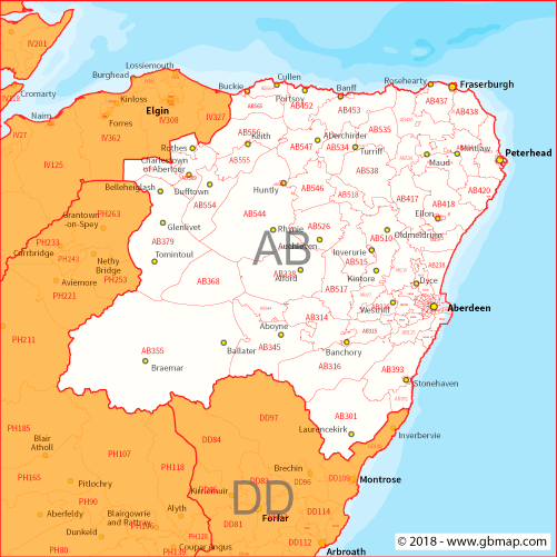 Ab Postcode Map Aberdeen Postcode area, district and sector maps in Editable Format