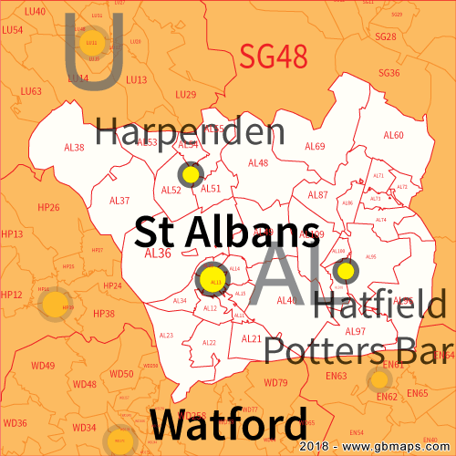 St Albans Postcode Area, District and Sector maps in Editable Format
