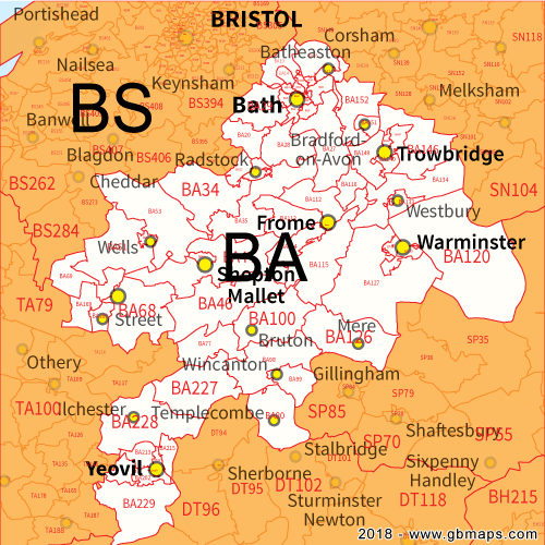 Ba Postcode Map Bath Postcode Area, District and Sector maps in Editable Format