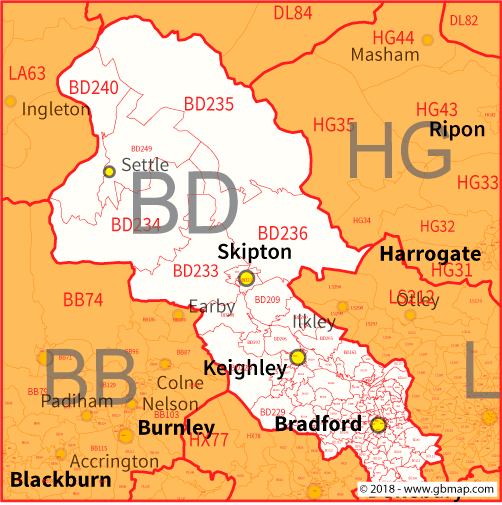Bradford Postcode Area District and Sector maps in Editable Format