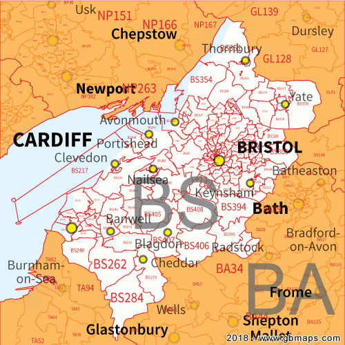 Bristol Postcode Map Bristol Postcode Area, District and Sector maps in Editable Format