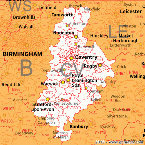 Coventry Postcode Area District and Sector maps in Editable Format