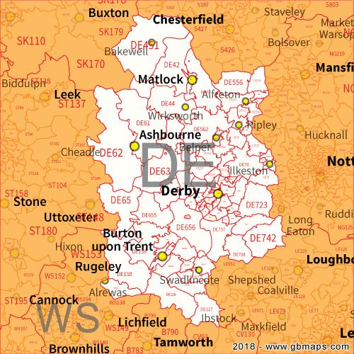 De Postcode Map Derby Postcode Area, District and Sector maps in Editable Format De Postcode Map
