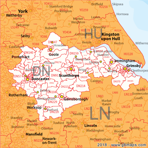 Map Of Doncaster Doncater Postcode Area, District and Sector maps in Editable Format