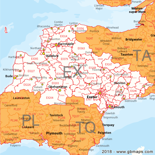 Exeter Postcode Area District and Sector maps in Editable Format