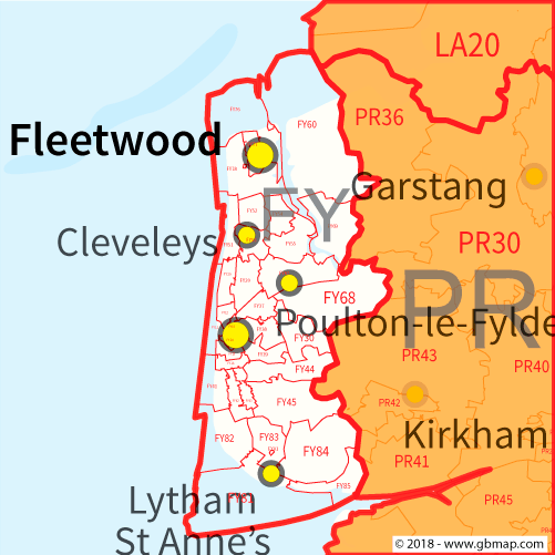 Blackpool Postcode Area District and Sector maps in Editable Format