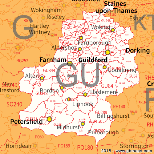 Guilford England Map.Guilford Postcode Area District And Sector Maps In Editable Format