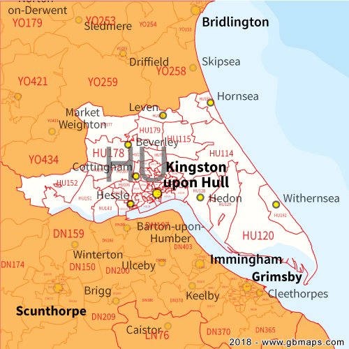 Hu Postcode Map Hull Postcode Area, District and Sector maps in Editable Format