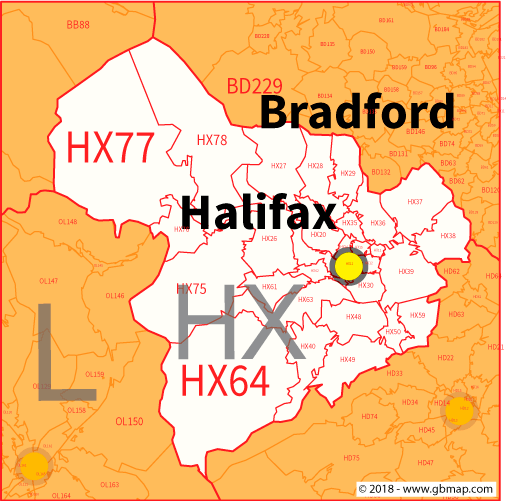 Halifax Postcode Area District And Sector Maps In Editable Format