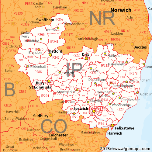 Ipswich Uk Map.Ipswich Postcode Area District And Sector Maps In Editable Format
