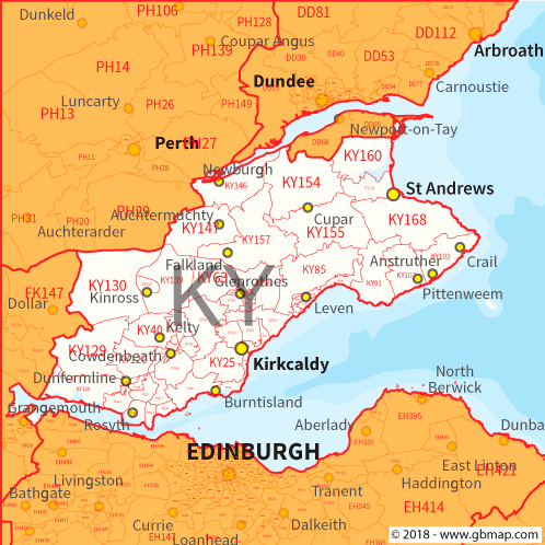 Map Of Kirkcaldy Kirkcaldy Postcode Area, District and Sector maps in Editable Format