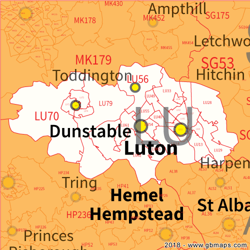 Luton Postcode Area District and Sector maps in Editable Format