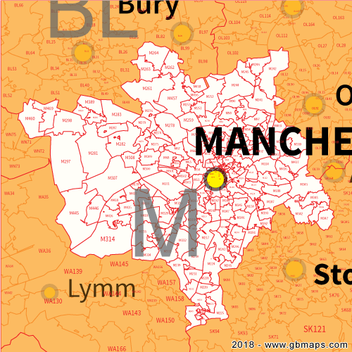 Manchester Postcode Map Manchester Postcode Area, District and Sector maps in Editable Format