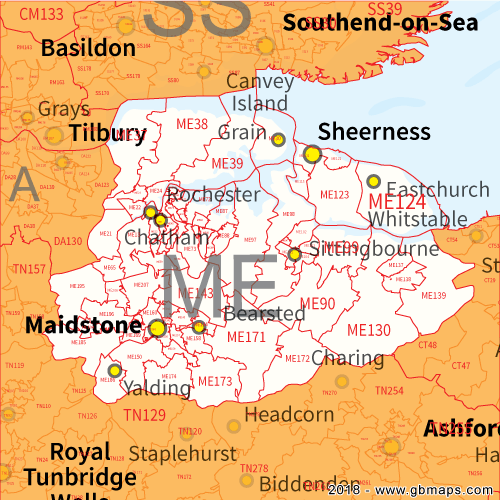 Maidstone Postcode Area District and Sector maps in Editable Format
