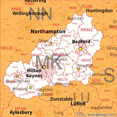 Mk Postcode Map Milton Keynes Postcode Area, District and Sector maps in Editable  Mk Postcode Map