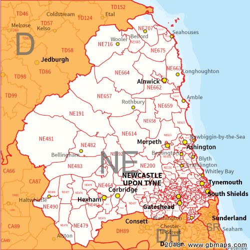 Map Of Newcastle Upon Tyne Newcastle Upon Tyne Postcode Area, District and Sector maps in
