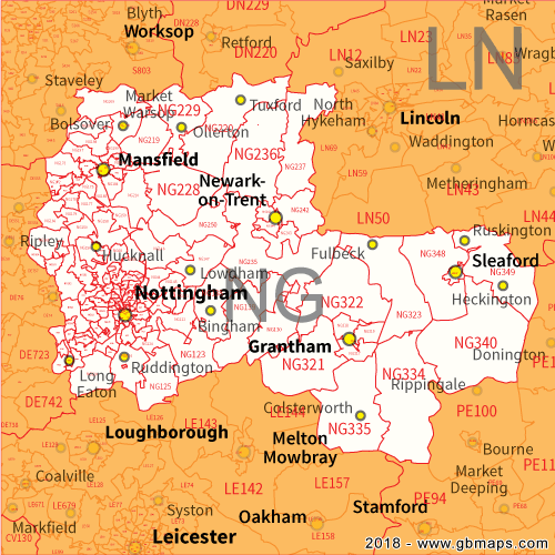 Nottingham Postcode Area District And Sector Maps In Editable Format