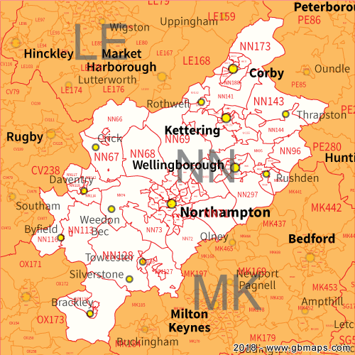 Northampton Postcode Area District And Sector Maps In Editable Format