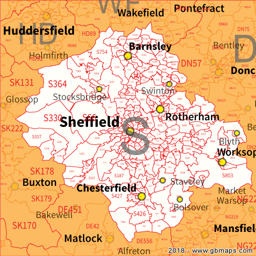 Sheffield Postcode Area District and Sector maps in Editable Format