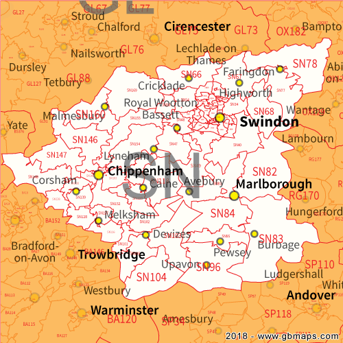 Sn Postcode Map Swindon Postcode Area, District and Sector maps in Editable Format