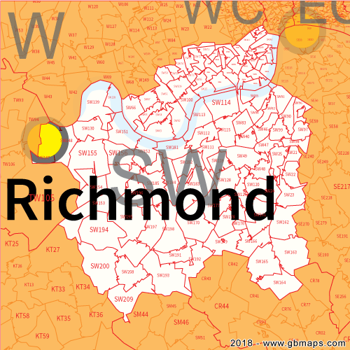South West London Postcode Area, District and Sector maps in
