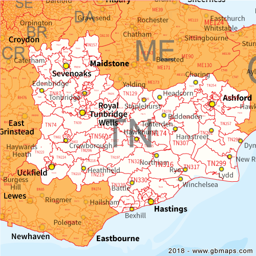 Tonbridge Postcode Area District And Sector Maps In Editable Format