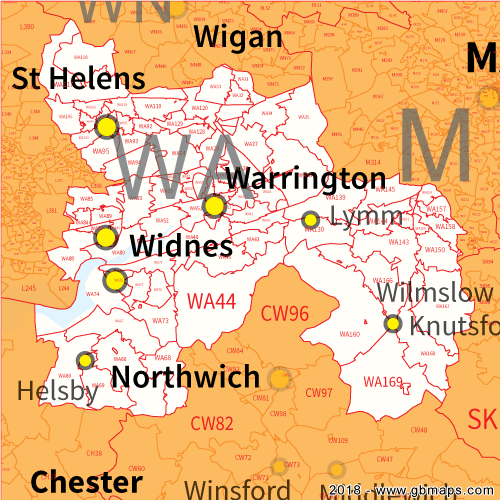 Warrington Postcode Area, District and Sector maps in Editable Format