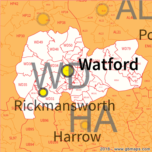 watford postcode area  district and sector maps in