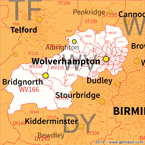 Wolverhampton Postcode Area District and Sector maps in Editable Format