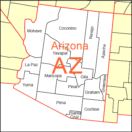 small map showing all the county boundaries and names in arizona state