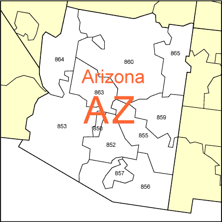 sample arizona 3 digit zip code map