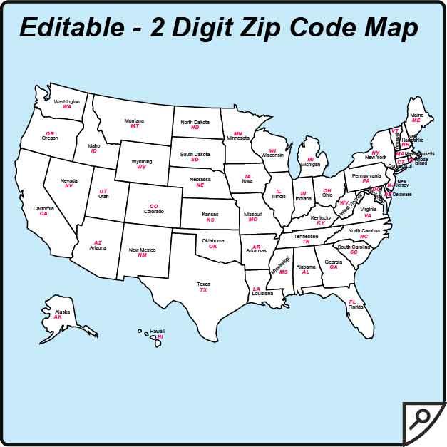 postal code zip code map usa