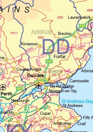 UK Postcode Area District and Roads Map